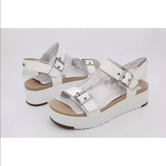 b305a260157 UGG Angie White Leather Platform Sandals NEW NWT